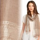 Eileen Fisher Ikat Print Silk & Organic Cotton Scarf Mocha