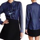 Nanette Lepore Cascading Ruffle Denim Shirt Small 2 4 Indigo Blue