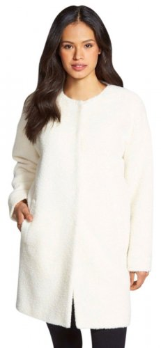 $648 Eileen Fisher Wool & Alpaca Blend Collarless cocoon Coat Small 2 4 Soft White