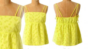 Anthropologie Tennis Star Tank 10 Large Top Blouse Yellow Cotton