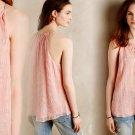 Anthropologie Tender Texture Silk Tank 10 Large Pink Textured Tie Neck Breezy