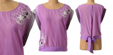 $128 Anthropologie Farren Blouse 10 Large Purple Top Beaded Open Back