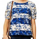 Anthropologie Floral Stripe Tee Blue Small 2 4 Cheerful Happy Tee Machine Wash NWT