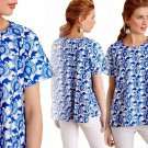 Anthropologie Comino Top Small 2 4 Blue Print Happy A-line Blouse