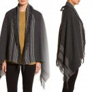 Eileen Fisher Italian Blanket Fringe Lofty Shawl Charcoal OS Wool Wrap Cape NWT