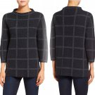Eileen Fisher Windowpane Felted Merino Wool Funnel Neck Sweater Medium 6 8 Charcoal