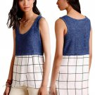 Anthropologie Tiered Gridwork Tank Small 2 4 Blue Motif Cross Front Bottom