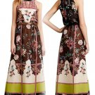 $268 Anthropologie Garden Collage Embroidered Maxi Dress 10 Large Brown Motif