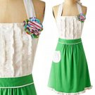 Anthropologie Tea-And-Crumpets Apron Green & White Cotton Machine Wash