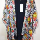 Daniel Rainn Knit Back Kimono Robe / Cover up XSmall Small Bright Animal Print NWT