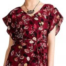 Anthropologie Rose Garden Kimono Blouse & Cami Large 10 12 Wine Top Crochet Inset