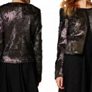 $248 Anthropologie Goldleaf Cropped Fur Jacket Small 2 4 Black Gold