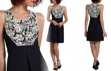 Anthropologie Lace Yoke Dress 12 - Fits like 10 - Black Ivory Lace Moulinette Soeurs
