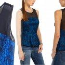 $188 Anthropologie Hotter Then Her Top 10 Large Black Blue Top Mesh Yoke