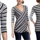 Anthropologie Sparkled Stripes V-Neck Top Medium 6 8 Tee Shirt Grey Motif