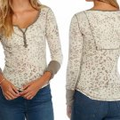 Free People Camouflage Henley Tee Medium 6 8 Beige Thermal