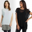 $238 Eileen Fisher Ballet Neck Short-Sleeve Tunic Polished Linen Rib Small 2 4 Bone