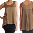 $178 Eileen Fisher Scoop Neck Tank XSmall 2 4 Pine Needle Silk Cotton Jersey w Silk Crepe de Chine
