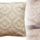 Anthropologie Cambridge Euro Sham Pair Lilac Embroidered Soft Cotton