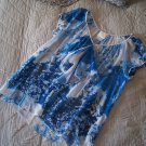 $148 Anthropologie Silk Skyscape Top Small 4 Blue Ruffled Crinkled Chiffon Breezy NWT