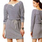 Anthropologie Current Day Dress Medium 6 8 Navy Blue & White Stripes Tunic Tart M