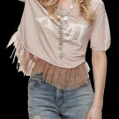 Free People Tear It Up Tee Medium 6 8 Pink Distressed HIgh Low Graphics