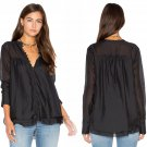 $98 Free People Baby Me Blouse Black XSmall 0 2 Black