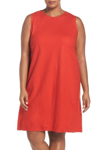 $268 Eileen Fisher Wool Jersey Round Neck Shift Dress 1X 16W 18W Poppy Red Boiled Wool Jersey