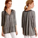 Anthropologie Linen Peasant Top XSmall Runs XLarge Grey w Black Lace Trim NWT