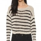 $128 Free People Sea Worthy Sweater Medium 6 8 Wheat + Black