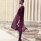 $378 Eileen Fisher Velvet & Silk Midi Length Shift Dress Small 6 8 Purple Raisinette