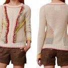 Anthropologie Pomfringe Pullover Top Sweater Medium 6 8 Cream Fun Stitchy