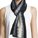 $158 Eileen Fisher Silk Shibori Scarf Black Motif Made in Japan