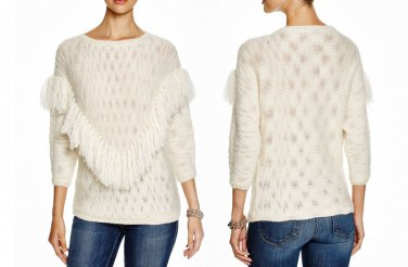 $288 Trina Turk Lilee Fringe Sweater Medium 6 8 Ivory Top Merino Wool