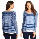 $198 Eileen Fisher Organic Linen Stripe Scoop Neck Knit Top XLarge 18 Blue