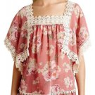Anthropologie Nella Top Small 2 4 Pink Floral Sheer Lace Trim