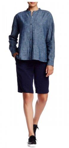 $158 Eileen Fisher Tencel® Twill Tapered Shorts Medium 10 12 Blue Midnight