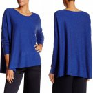 $178 Eileen Fisher Draped Boxy Speckled Sweater XSmall 2 4 Blue Wool + Silk