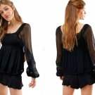 Free People Moonchaser Peasant Top Small 2 4 Black Lace Vintage Inspired