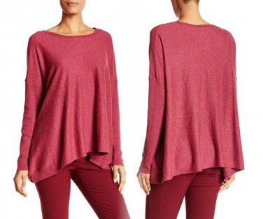 $178 Eileen Fisher Draped Boxy Speckled Sweater Small 6 8 Wild Orchid Wool + Silk