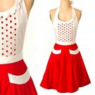 Anthropologie Fiammetta Apron Red Cotton Hostess Wedding Mother Gift