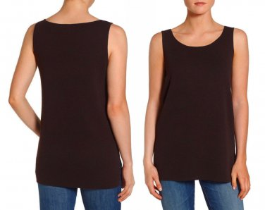 $178 Eileen Fisher Top Petite PP Black Washable Wool Crepe Long Tank