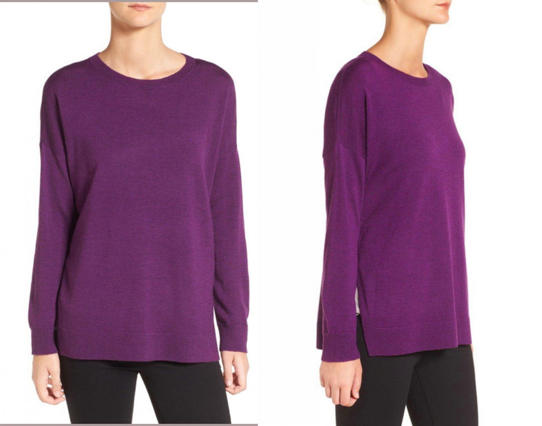 $188 Eileen Fisher Merino Wool Jersey Bateau Neck Sweater Large 14 16 Purple Raisonette