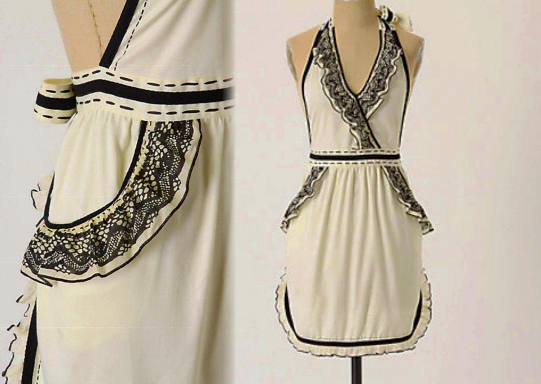Anthropologie April Fools Apron Ivory + Black Cotton Hostess Wedding Mother Gift
