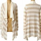 Anthropologie Premium Sheen Cardigan Small 2 4 Splendid Ivory Rugby Stripes