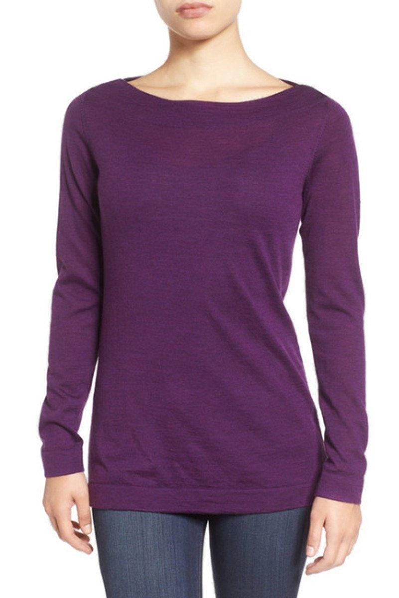 $218 Eileen Fisher Fine Merino Bateau Neck Top Large 14 16 Purple Raisonette