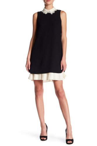 $148 Nanette Lepore Lace Peak Collar Shift Dress 2 Small Black + Cream Pleated Hem NWT