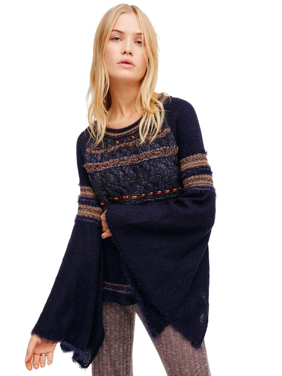 Free People Craft Time Sweater Small 2 4 Navy Blue Top Long Bell Sleeves