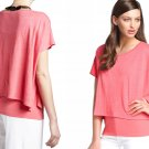 Eileen Fisher Linen Jersey Poncho Small 6 8 Peony Pink Bateau Neck