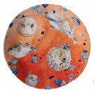 "Anthropologie Under the Sea Dinner Plate Orange Puffer 10.5"" Collectible NWT"